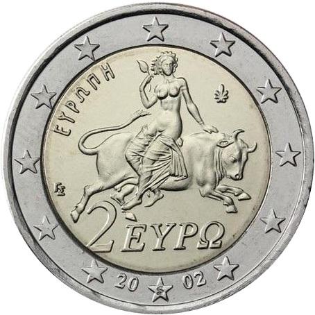 上图:2002年希腊发行的€2欧元硬币,上面的图案是欧罗巴(Europa)被宙斯化身的公牛诱拐到克里特岛,欧罗巴(Europa)的名字成为欧洲的名字,在所有日耳曼语、斯拉夫语、希腊语和拉丁语中,欧洲的名字都是Europa,只有英语是Europe。 在希腊神话中,欧罗巴是一个美丽的腓尼基公主,最高神宙斯看上了她,就变成白公牛,把欧罗巴诱拐到克里特岛,和她生下了儿子米诺斯(Minos),成为克里特之王。米诺斯兄弟三人都是同性恋,他的妻子与海神波塞冬送的公牛结合,生下了牛头人身的怪物弥诺陶洛斯(Minotaur),住在迷宫之中,并让雅典人每年献7对童男童女来供它食用。雅典王子忒修斯(Theseus)杀死了牛怪,但他父亲埃勾斯(Aegeus)误以为他已遇难,悲痛投海,这海就起名为爱琴海(Aegean Sea)。 欧罗巴的传说实际上就是「人兽淫合」,从古代埃及、美索不达米亚、迦南、希腊、伊朗、印度、中国和日本的艺术作品中,可以看到当时「人兽淫合」的现象非常普遍,这些在神的眼中都是「可憎恶的事」。