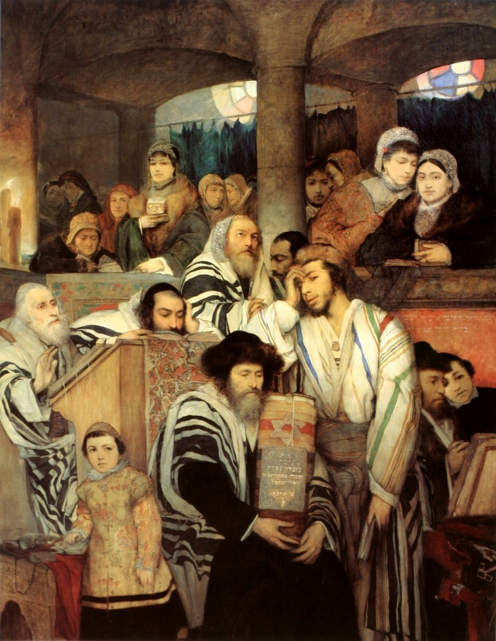 上图:19世纪波兰犹太现实主义画家Maurycy Gottlieb的油画《犹太人赎罪日在会堂祷告 Jews Praying in the Synagogue on Yom Kippur 》(1878年)。主后70年圣殿被毁之后,献祭和祭司制度不再存在,所以犹太教越来越重视在赎罪日「刻苦己心」,甚至认为只要在赎罪日诚实反省、认罪,就能使罪得赦免,却渐渐忽略了神借着献祭所表明的弥赛亚中保工作。人若只有「刻苦己心」,却没有基督的救赎,还是不能彻底解决罪的问题。