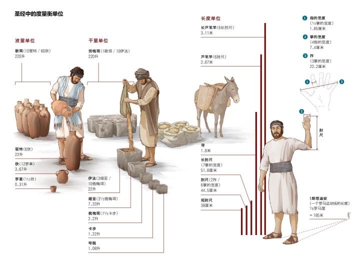 上图:圣经中的度量衡单位。其中「罗革」的大小不能确定。