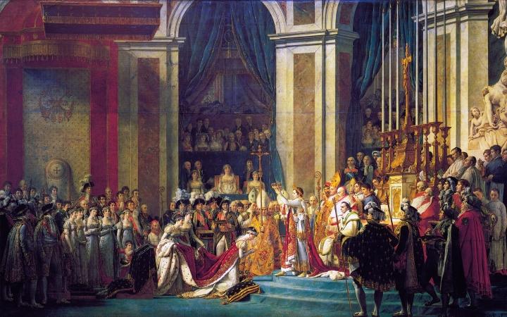 上图:法国大革命画家雅克-路易·大卫(Jacques-Louis David)1807年的油画作品《拿破仑加冕典礼 The Coronation of Napoleon》,描绘1804年12月巴黎圣母院的拿破仑加冕大典。在教宗庇护七世的旁观下,拿破仑自己将皇冠戴到头上,然后加冕妻子为皇后。1804年11月,昔日追求「自由、平等、博爱」,投票把善良的国王路易十六推上断头台的法国革命群众,又通过公民投票把法兰西共和国改为法兰西帝国,拥戴拿破仑(Napoleon)为皇帝。而昔日的革命者雅克-路易·大卫也放弃了革命信仰,摇身一变成为宫廷画师,为拿破仑皇帝画了许多著名的画像,包括《跨越阿尔卑斯山圣伯纳隘道的拿破仑 Napoleon Crossing the Alps》。法国人为了追求自由、民主、「公义」的革命,结果不过是给自己换了一个皇帝。相似的一幕此后在世界各国的政治舞台上不断重演,不住地让人反思什么才是「公义」的标准。