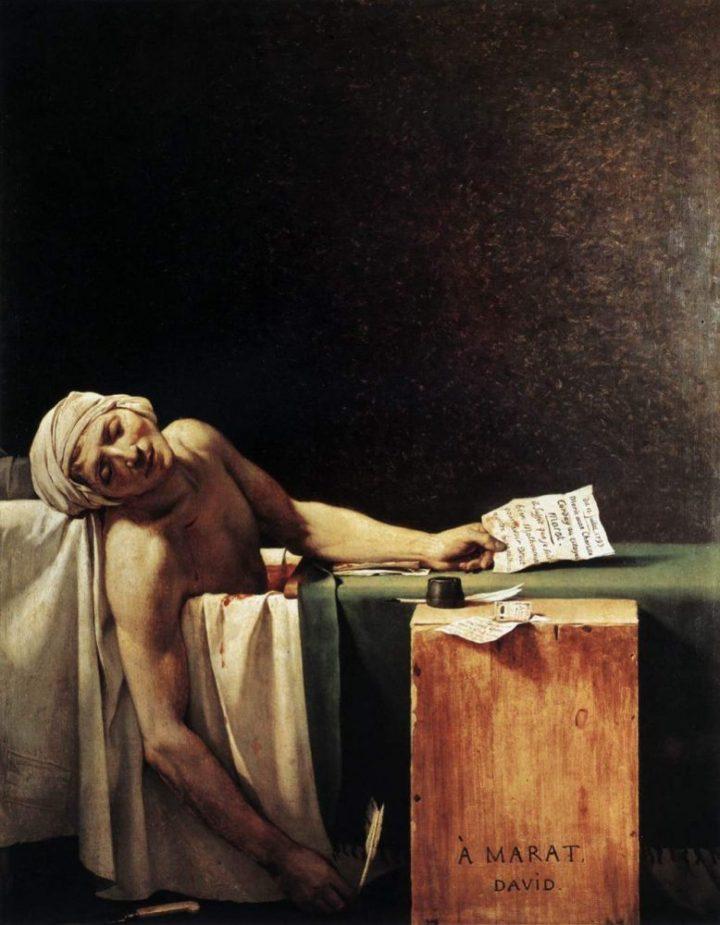 上图:法国大革命画家雅克-路易·大卫(Jacques-Louis David)1793年的油画作品《马拉之死 The Death of Marat》。让-保尔·马拉(Jean-Paul Marat,1743-1793年)是法国大革命时期的革命家,因有慢性皮肤疾病,每天泡在带有药液的浴缸中为革命工作。1793年1月,法国大革命吉伦特派(Girondins)主导的国民公会(Convention nationale)投票把善良的国王路易十六推上了断头台。6月,更革命的雅各宾派(Jacobin)逮捕了吉伦特派,马拉负责主持镇压吉伦特派。7月,当他记录吉伦特派名单、准备把他们送上断头台的时候,被吉伦特派的支持者刺杀了。马拉的朋友雅克-路易·大卫把马拉描绘成为革命献身的殉道者,激起了法国人对雅各宾派的同情,把雅各宾派的恐怖政治推上了巅峰,以致罗伯斯庇尔说:「马拉的死亡竟然比他的生命更影响这个世界」。10月,雅各宾派主导的国民公会投票把吉伦特派领导人集体推上了断头台。到了1794年7月,其他革命者主导的国民公会又投票把雅各宾派的领导人集体推上了断头台。离开神来谈论「公义」,只不过是「成者为王、败者为寇」,革命只不过是「城头变幻大王旗」而已,正如吉伦特派革命者罗兰夫人(Madame Roland)在断头台上向着革命广场上的自由雕像发出的叹息:「自由自由,天下古今几多之罪恶,假汝之名以行!」