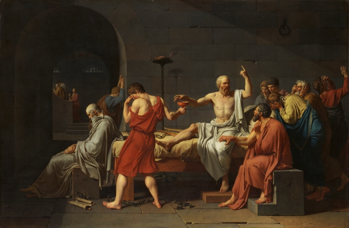 上图:法国大革命画家雅克-路易·大卫(Jacques-Louis David)1787年的油画作品《苏格拉底之死 The Death of Socrates》。主前399年,古希腊哲学家苏格拉底(Socrates,主前470-399年)被控不敬神和腐蚀雅典青年,庭审的辩论、举证、投票过程严格按照雅典的民主、法制程序,结果他被民主选拔出来的500人陪审团按着他们自己认为的「公义」投票,被判饮毒堇汁而死。离开绝对真理的「少数服从多数 Majority rule」并不是「公义」,只不过将多数人的利益置于少数人之上的「多数人暴政」(Tyranny of the majority)。然而画家所看中的却是苏格拉底为信仰而死的坚毅精神,所以积极投身法国大革命,为了他自己认为对的信仰,投票把一个又一个拦阻实现这信仰的人推上了断头台。