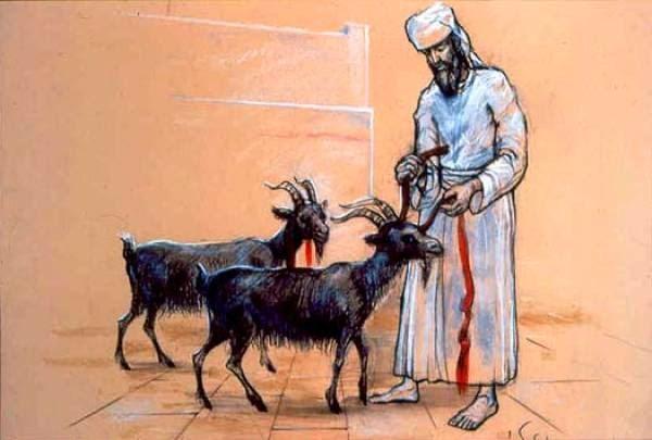 上图:大祭司在给两只山羊做记号。根据《他勒目 Talmud》记载,两只山羊要尽可能相像,要用朱红色线系在「归与阿撒泻勒」的羊角上,又系在「归与耶和华」的羊脖子上。