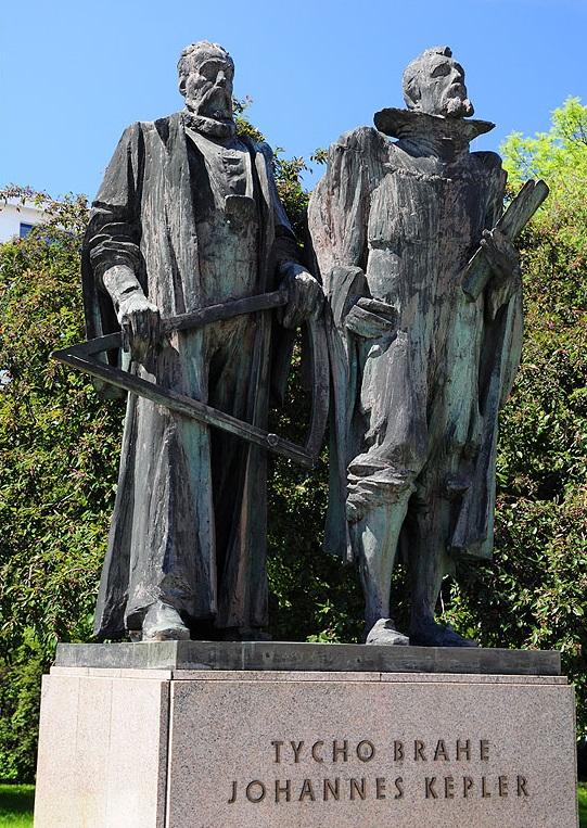 上图:位于布拉格第谷故居的第谷与开普勒雕像。第谷.布拉赫(Tycho Brahe,1546-1601年)是丹麦天文学家,他拥有肉眼观测的时代最精密的天文观测记录,但却无法总结出行星运动的规律,最后把所有的观测数据都留给了他的助手开普勒。 开普勒(Johannes Kepler,1571-1630年)是德国数学家,从小喜欢天文,但却因天花而严重弱视、双手残废,只能根据第谷的观测数据进行计算、分析。他坚信神按照完美的数学原则创造宇宙,行星运动的规律一定是和谐的。从这个信念出发,他最终从第谷的火星轨道观测数据中总结出了行星三大定律,后来启发了英国科学家牛顿(Isaac Newton,1643-1727年)发现万有引力定律,奠定了现代科学的基础。