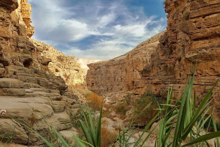 上图:Qelt旱溪(Wadi Qelt,or Nahal Prat)中「死荫的幽谷」。Qelt旱溪发源于耶路撒冷附近,经过耶利哥流入约旦河,无水的季节成为从耶利哥到耶路撒冷最著名的一条道路,大卫从这里逃离耶路撒冷躲避押沙龙(撒下十五23),西底家王从这里逃王亚拉巴(王下二十五4)。每逢三大节期,犹太人从这里前往耶路撒冷过节(路二39-51),主耶稣带领门徒和瞎子巴底买从这里经过(可十52)。而主后70年,罗马第十军团也从这条路行军,前往摧毁耶路撒冷。