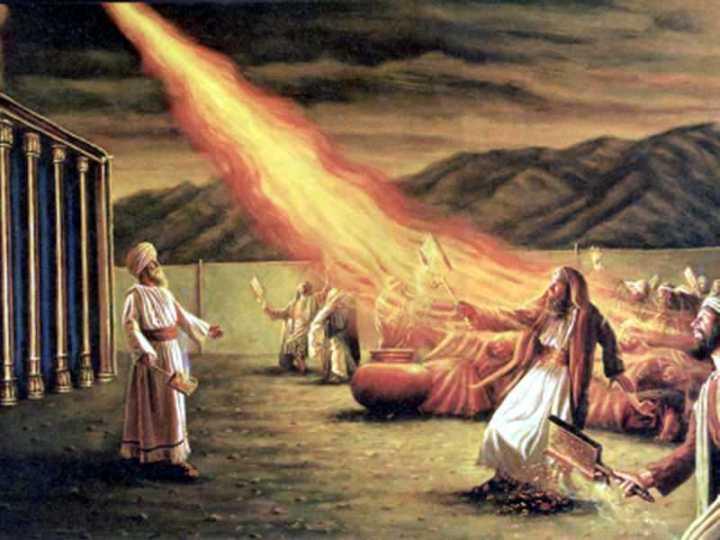 上图:火烧灭献香的二百五十个人的艺术想象图。「香炉」可能是一种长柄的盘子。
