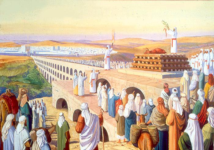 上图:犹太传统认为,圣殿建成后,宰杀并焚烧红母牛的地点是圣殿东面的橄榄山,橄榄山和圣殿东门之间为此修建了一座特别的桥。为了可以向圣所弹血七次,耶路撒冷城的东墙建造得比较低矮,这样祭司通过美门(Gate of Nicanor)正好可以看到圣所。赎罪日归与阿撒泻勒的山羊也从这桥被带出圣殿,放到旷野。
