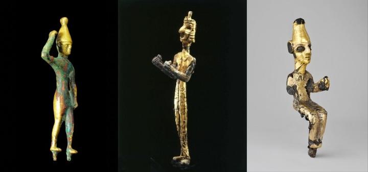 上图:主前14世纪迦南人各种贴着金箔的巴力偶像。