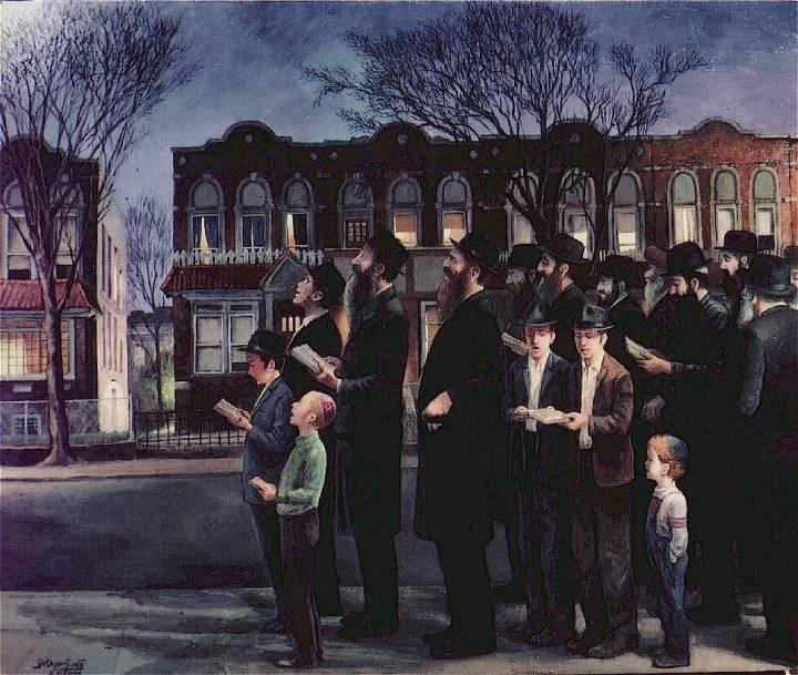 上图:油画《布鲁克林祝圣新月 Kiddush Levanah in Brooklyn》(Zalman Kleinman绘制)。犹太历是根据月相变化制定的,犹太人会在每个月的第3到14天,选择一个月光够亮的晚上,在室外对着月亮诵读特定的祈祷词(包括诗148:1-6;歌2:8-9;诗121;诗150;诗67),然后载歌载舞庆祝。这一仪式称为祝圣新月(Kiddush Levanah,or Sanctification of the Moon)。如果月亮完全被云遮挡,就不举行这个仪式。