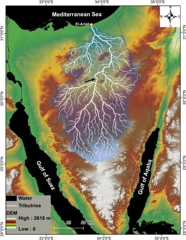 上图:阿里什旱溪(Wadi el-Arish)流域是西奈半岛的最大的泄洪系统。阿里什旱溪的支流平时是干涸的河床,下雨时则汇集了西奈半岛60%的洪水,在阿里什(El-Arish)流入地中海。阿里什旱溪的下游是从东南向西北长约50公里的直线,这是应许之地的天然边界,在圣经中被称为「埃及河」(创十五18)或「埃及小河」(民三十四5)。