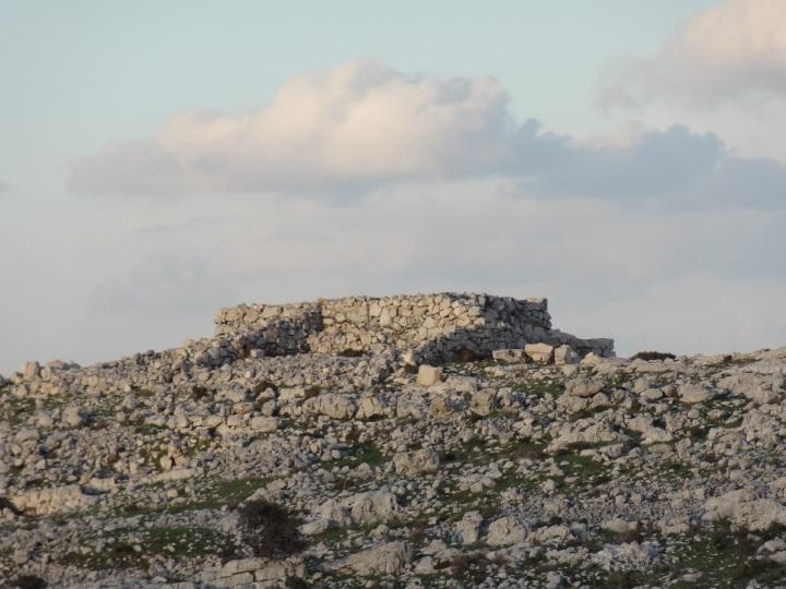 上图:1980年,考古学家在以巴路山发现了一座主前15-13世纪的祭坛,这祭坛不是迦南人的样式,而是用「没有凿过的石头」(申二十七6)砌成,里面填满灰和泥;没有用「台阶」(出二十26),而是有一条坡道通往顶部。这座祭坛包括两层,上层是方的,根据陶片被鉴定为主前1250年;下层是圆的,根据一个古埃及第十八王朝法老图特摩斯三世(Thutmose III,主前1479-1425年)时期的圣甲虫(Scarab),被鉴定为主前1405年,也就是约书亚进迦南的年代。下层的祭坛被认为就是约书亚进迦南后,在以巴路山所建的祭坛(申二十七5;书八30)。