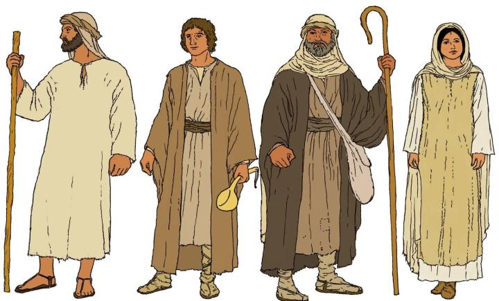 上图:古代以色列人外衣的想象图。作为「当头」的「衣服」(申二十四13)原文是「שַׂלְמָה salmah」,可能是一种比较重的外袍或披肩,用一大块粗糙的长方形羊毛或亚麻布料缝合在一起,前面没有缝合,手臂的位置有两个开口。这件外袍白天可以防雨和御寒,晚上可以当被子,还可以用来包东西(出十二34;王下四39)。而「衣裳」(申二十四17)原文是「בֶּגֶד beged」,泛指衣服。由于以色列人从来不用绘画、雕刻或浮雕来夸耀自己,所以除了圣经之外,很少有服装的图像史料。现代人只能根据埃及壁画和亚述浮雕中的一些线索,以及中东其他国家的服装来推测古代以色列人的服装。