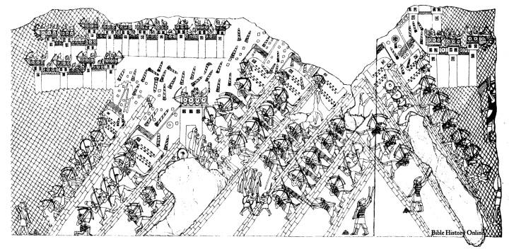 上图:拉吉之围(Siege of Lachish)浮雕上的图画,描绘了主前701年,亚述王西拿基立(Sennacherib)的军队围攻犹大要塞拉吉的惨烈战况。浮雕出土于尼尼微西拿基立的宫殿中,现藏于大英博物馆。