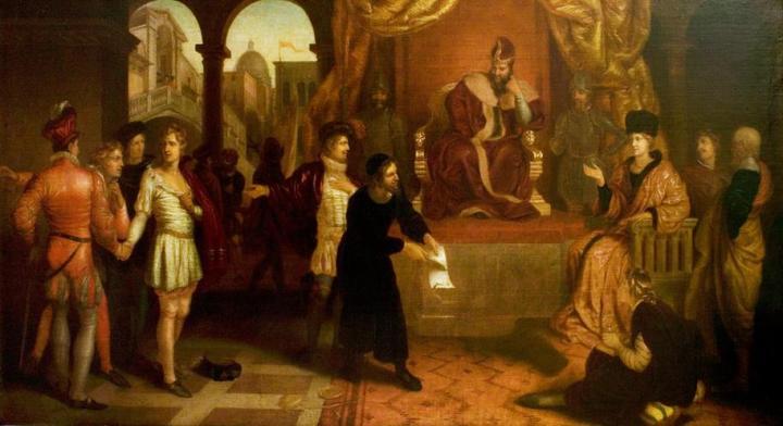 上图:《威尼斯商人》(The Merchant of Venice)中的庭审场面。《威尼斯商人》是莎士比亚的喜剧作品,其中的反派角色是一位靠放高利贷致富的犹太人夏洛克(Shylock),反映了当时欧洲社会对从事高利贷行业的犹太商人的偏见。 犹太人在应许之地并不放贷,但亡国之后,他们失去了土地,常常被人驱赶,无法长期定居,只能从事主流社会所鄙视的手工业和商业,并且重视现金和易于携带的资产。主后十世纪,西欧的封建社会稳定以后,犹太人又被排斥在各种手工业行会和贸易商会之外,只能从事放贷,因为中世纪的天主教会禁止信徒从事信贷行业。民间信贷有广阔的市场空间,犹太人并不禁止向外邦人收取利息,手里又有现金,所以犹太人的信贷生意越做越大,萨罗·巴伦的《犹太经济史》中说:「从比利牛斯山到苏格兰,从大西洋到易北河,这中间各地的犹太人,大都是靠放高利贷生活的,从12世纪到15世纪都是这样的。」但实际上,犹太人高利贷的利息都是当地领主批准的,当权者们经常向犹太人课以重税,拿走利润的大头,而犹太人只是靠当「白手套」而谋取蝇头小利,还经常被当作替罪羊,不是取消利息、就是财产被充公。