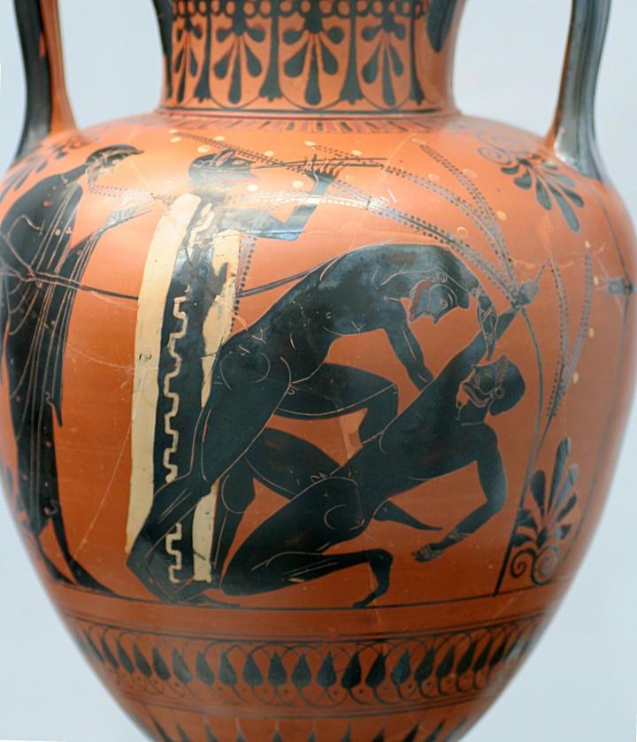 上图:主前500年的希腊双耳瓶,上面的图案是拳击赛。右边的选手举起右手食指表示认输。主前688年,希腊人开始把拳击项目加入古代奥林匹克运动会中。