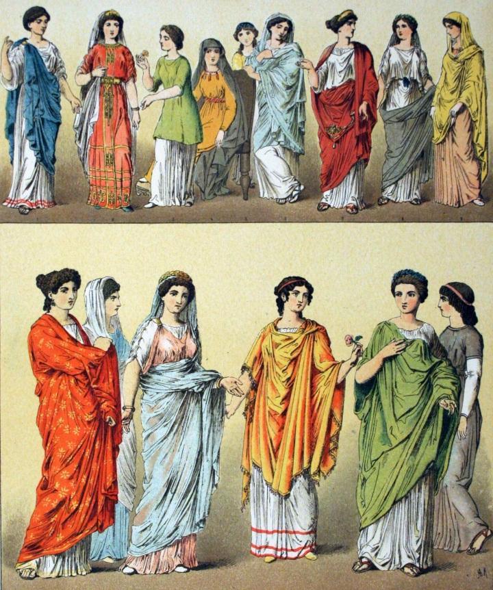 上图:古代罗马妇女的服装。贫富之间的服装差别很悬殊。