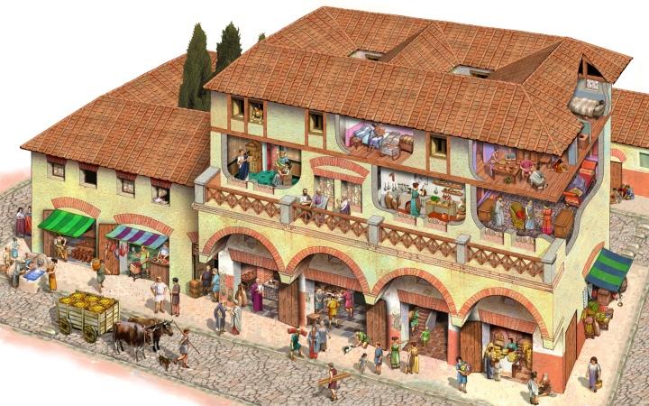 上图:古代罗马的公寓楼。百基拉和亚居拉可能住在类似的公寓里,楼下开店,楼上住人。教会就在他们家中。