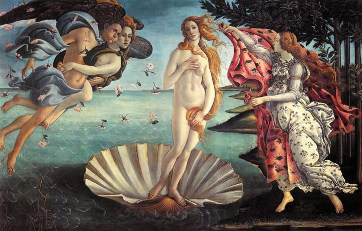上图: 《维纳斯的诞生》是文艺复兴早期佛罗伦萨画派艺术家桑德罗·波提切利(Sandro Botticelli,1445-1510年)的蛋彩画,描述维纳斯诞生于大海的泡沫中,缓缓从贝壳里升起,与春神相伴的西风之神把维纳斯吹向海岸边,并由季节女神为她披上艳丽的斗篷。罗马神话中的维纳斯(Venus)就是希腊神话中代表爱情、美丽与性欲的女神阿佛洛狄忒(Aphrodite)。传说泰坦神克洛诺斯用镰刀割下了父亲天空之神乌拉诺斯的阳具扔进了大海,阳具四周泛起许多白色的泡沫,阿佛洛狄忒就成长在这漂浮于泡沫之中的阳具里,后来被海浪冲上了塞浦路斯岛。