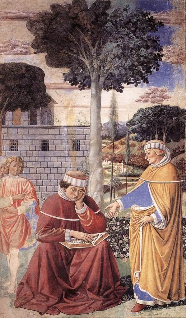 上图:描绘奥古斯丁听到「拿着,读吧」(拉丁文Tolle lege)之后,读罗马书罗十三13-14时悔改的油画。