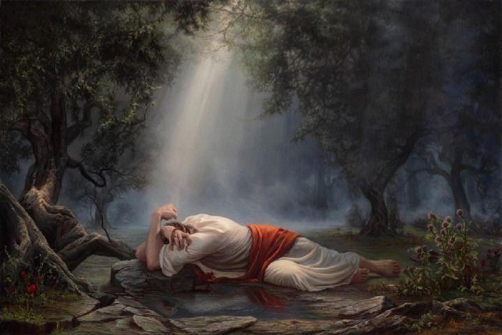 上图:主耶稣在客西马尼园祷告的艺术想象图。主耶稣的祷告是:「父啊!祢若愿意,就把这杯撤去;然而,不要成就我的意思,只要成就祢的意思」(路二十二42)。当时「有一位天使从天上显现,加添祂的力量」(路二十二43),虽然主耶稣「极其伤痛」,但「祷告更加恳切,汗珠如大血点滴在地上」(路二十二44)。