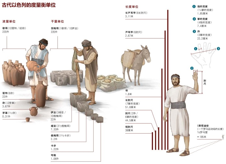 上图:古代以色列的度量衡单位。一掌就是四指,大约是7.4厘米。