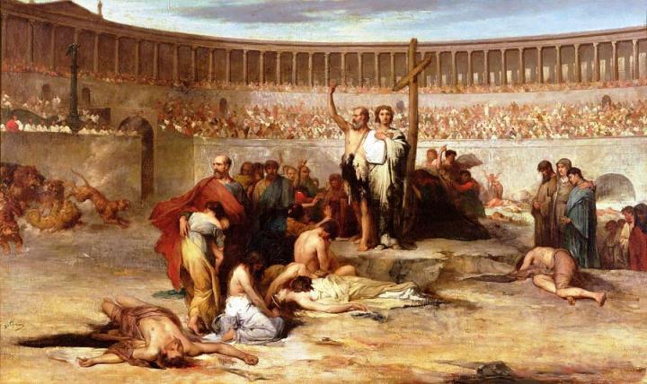上图:油画《尼禄时代忠心殉道者的凯歌 Triumph Of Faith Christian Martyrs In The Time Of Nero》,19世纪法国画家Eugene Thirion绘。这幅画描绘了尼禄皇帝迫害基督徒的情景,彼得也在这场逼迫中受害,但他仍然教导:「基督既在肉身受苦,你们也当将这样的心志作为兵器」(彼前四1)。基督徒赤手空拳地「将这样的心志作为兵器」,最后征服了罗马帝国,两百多年以后,罗马皇帝不得不宣布基督教为国教。