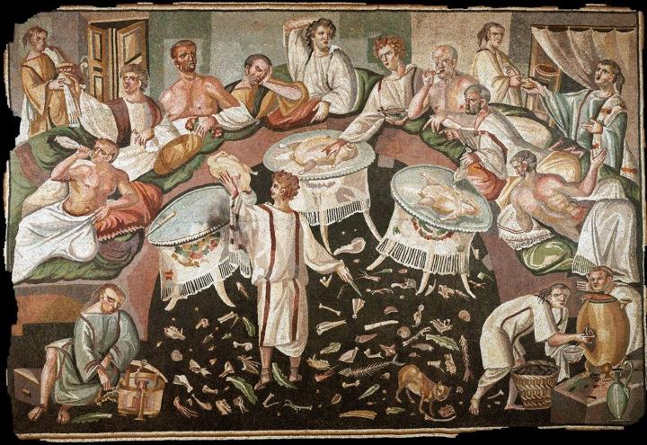 上图:描绘古代罗马人宴乐的马赛克画,地上满是各种骨头。