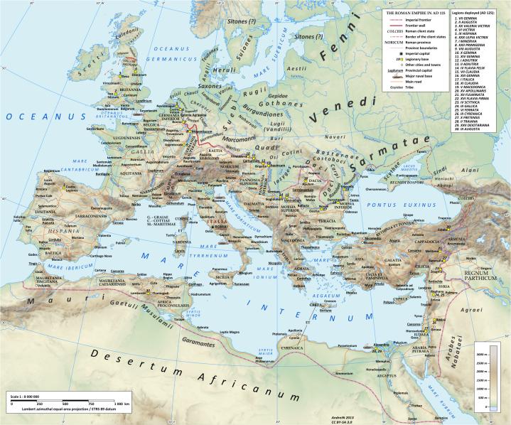 上图:罗马皇帝哈德良(主后117-138年在位)时代的主要罗马道路(拉丁语Via)。道路是罗马的重要基础建设,从主前500年开始修建,随着罗马共和国及罗马帝国版图的扩大而延伸。在罗马帝国的鼎盛时代,有超过29条大型军事公路从首都罗马向外辐射,接上113个省份的372条大道,总长超过40万公里,其中8万5百公里是铺石道路。各地的小路连上了广阔、长距离的公路,把各主要市镇和军事基地连在一起,为军队、官员及平民带来了便捷的交通,促进了贸易,更为福音的广传铺平了道路。