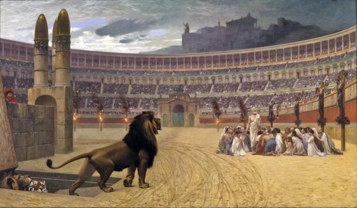 上图:油画《基督教殉道者最后的祷告 The Christian Martyrs' Last Prayer》,法国画家让-里奥·杰洛姆(Jean-Léon Gérôme)绘于1863-1883年。这幅画描绘了尼禄皇帝迫害基督徒的情景:竞技场周围的柱子上,左边是遭受火刑的基督徒,右边是被十字架处死的基督徒,中间的一群基督徒正在祷告,看台上挤满了看热闹的罗马人,远处是罗马城内高耸的神庙和偶像,近处是一群猛兽从地下甬道进入斗兽场,准备把基督徒们撕得粉碎。不管怎么逼迫,信主的人却越来越多。两百多年以后,罗马皇帝宣布基督教为国教。