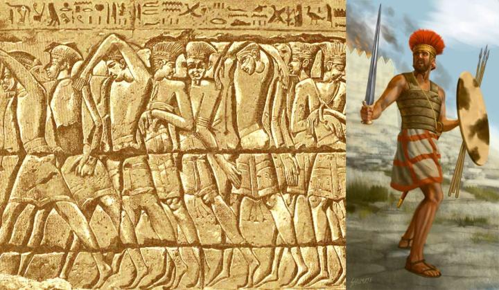 上图:Medinet Habu神庙壁画上被俘的非利士人战士形象。「非利士人」来自迦斐托,即地中海的克里特岛(创十14;摩九7),在亚伯拉罕的时代就小规模地迁到迦南沿海平原(创二十一34)。以色列人进迦南大约一百年多后,非利士人大量入侵埃及和迦南,定居在迦南沿海平原的迦萨、亚实基伦、亚实突、迦特、以革伦等五个城邑(撒上六17-18),主前13世纪被珊迦打败后(士三31),维持了一段和平。当以色列人还不会炼铁的时候,非利士人就已经使用铁兵器,在沿海平原从事农业、畜牧和海上贸易,越来越强盛。主前12世纪,非利士人开始向内陆发展,与亚扪人同时扰害欺压以色列人(士十7-8),亚扪人欺压了河东的两个半支派十八年,而非利士人欺压了河西的但和犹大支派四十年,一直到撒母耳在米斯巴大获全胜(撒上七13-14)。此后,非利士人还时常与扫罗和大卫争战,直到大卫在利乏音谷两次大胜(撒下五17-25),才制服了非利士人(撒下八1)。南北分裂以后,非利士人对南国犹大的侵扰一直延续到被掳巴比伦(结二十五15-17)。