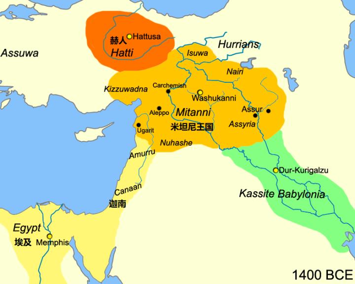 上图:美索不达米亚的米坦尼王国(Mitanni)。「美索不达米亚」原文是「两河间的亚兰」,最初是指两河流域的北部(创二十四10;申二十三4),主前4世纪之后才用来形容整个两河流域。主前1500-1300年,统治美索不达米亚的是胡里安人(Hurrians)的米坦尼王国。主前十四世纪中期,赫人攻击米坦尼王国,许多难民和部落逃离了这个地区。「美索不达米亚王古珊·利萨田」(士三9)可能是其中一位寻找新家园的流浪部落首领。