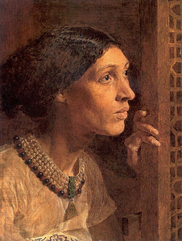 """上图:19世纪英国画家Albert Joseph Moore所画的《西西拉的母亲向窗外看》,表达了她的焦虑。根据犹太人的传统,因为西西拉的母亲为她的儿子哭了100声,所以犹太人在犹太新年吹角节(Rosh Hashanah)用羊角号(Shofar)吹响100次。塔木德将羊角的声音称为""""西西拉母亲的抽泣""""。"""
