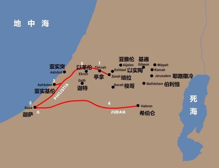 上图:亚实基伦距离亭拿约40公里,来回须走两天。参孙大老远跑到这里击杀非利士人,可能是避免被报复。