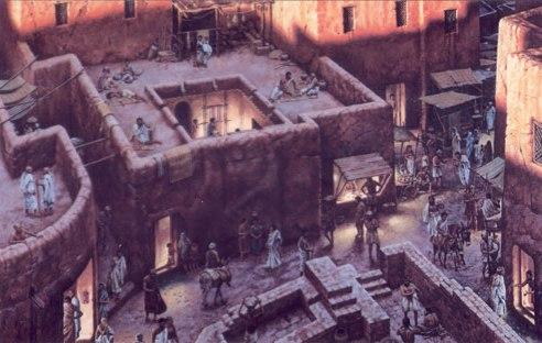 上图:古代以色列城里的房子复原图。