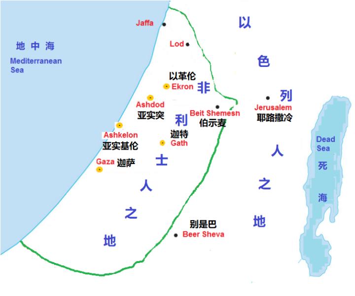 上图:非利士人的五城:迦萨、亚实基伦、亚实突、以革伦、迦特。
