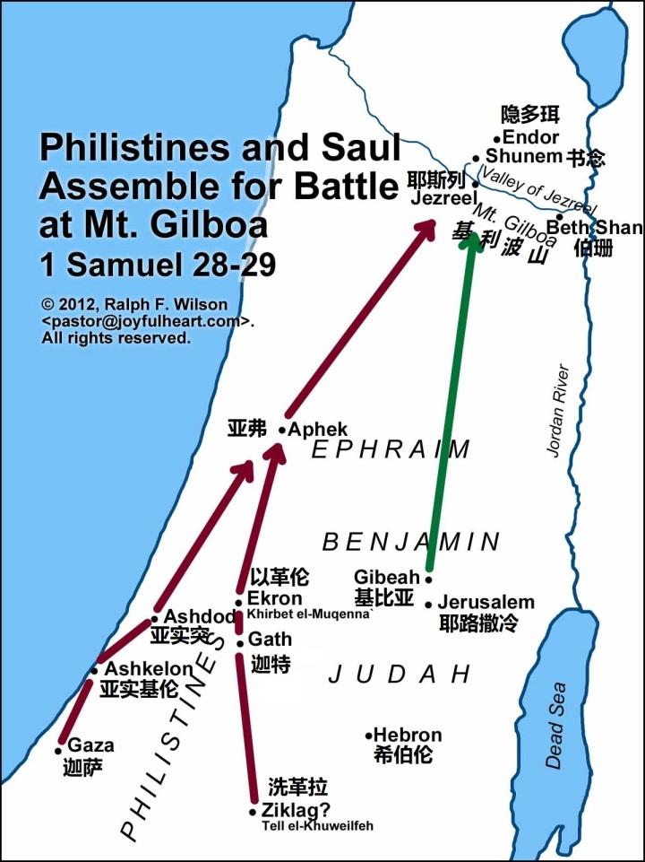 上图:非利士人和扫罗北上决战的行军路线。
