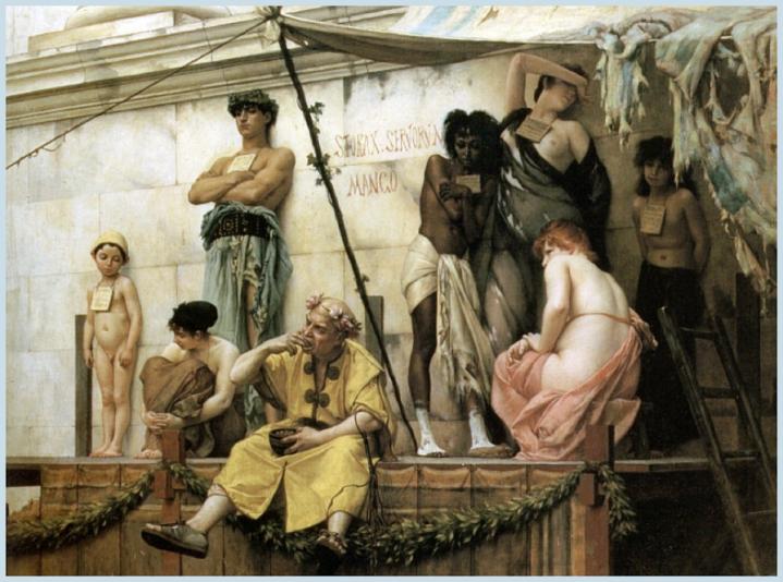 上图:法国画家古斯塔夫·布朗杰(Gustave Boulanger,1824-1888年)于1882年创作的油画《奴隶市场》,描绘了古罗马奴隶拍卖的场面,画中七个戴着标签的奴隶正在被拍卖。