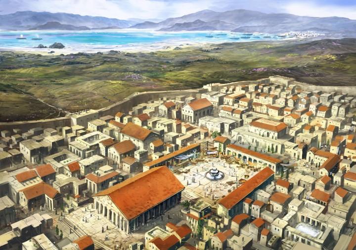 上图:哥林多古城的复原图,远处是哥林多湾。哥林多城位于哥林多地峡,控制了从雅典来的东、西陆路与西北、东南的两个海湾之间的交汇口,早在主前8世纪就已经成为希腊最富庶、繁荣的商业大城。在罗马帝国时代,该城北重建城一个罗马文化的新都市,人口大多是罗马的退役军人和被释放的自由奴隶,过往的客旅很多。兴盛的商业气氛也吸引了不少犹太人,并有足够的人数可以在此建立会堂。