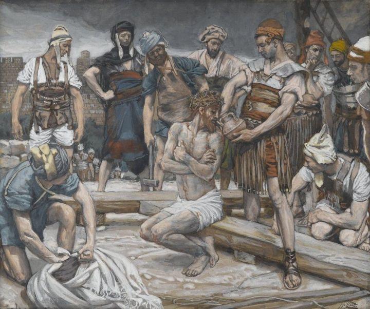 上图:绘画:「兵丁拿苦胆调和的酒给耶稣喝。祂尝了,就不肯喝」(太二十七34)。