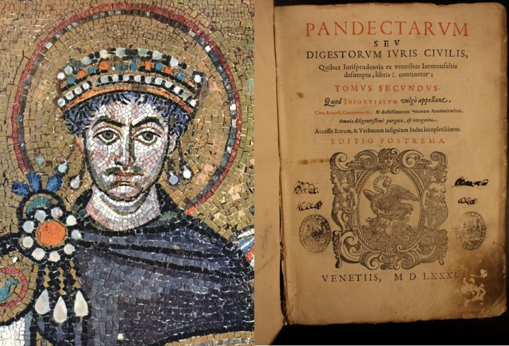 上图:东罗马皇帝查士丁尼一世(Justinian I,主后527-565年在位)和他所编撰的《查士丁尼法典 Code of Justinian》(又称《民法大全 Corpus Juris Civilis》,1581年版)。罗马帝国以法制闻名于史,罗马法是罗马共和国及罗马帝国所制定的法律规范的总称,于东罗马帝国皇帝查士丁尼一世时期达到鼎盛。罗马法奠定了后世法学、尤其是大陆法系民法典的基础。世界最早的大学最初往往只有神学和法律两个专业,而法律学习的就是《民法大全》。