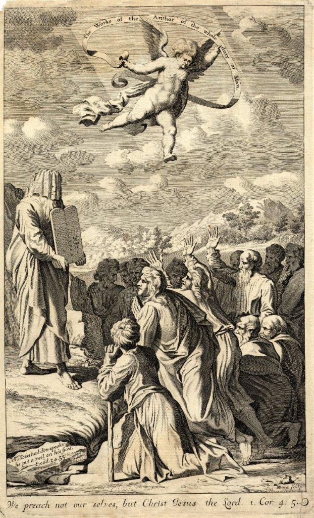 上图:17世纪的绘画,描绘摩西捧着十诫石碑下西奈山时,脸上蒙着帕子。