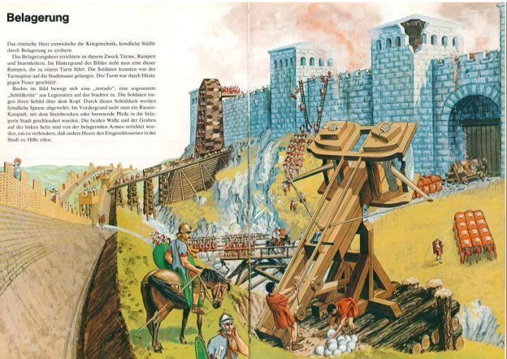 上图:罗马军队攻城的艺术想象图。图中的攻城武器包括:攻城塔、坡道、攻城梯、龟甲形大盾、投石车、带沟的围墙。