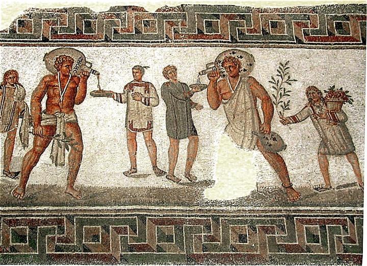 上图:正在事奉主人的罗马奴隶。