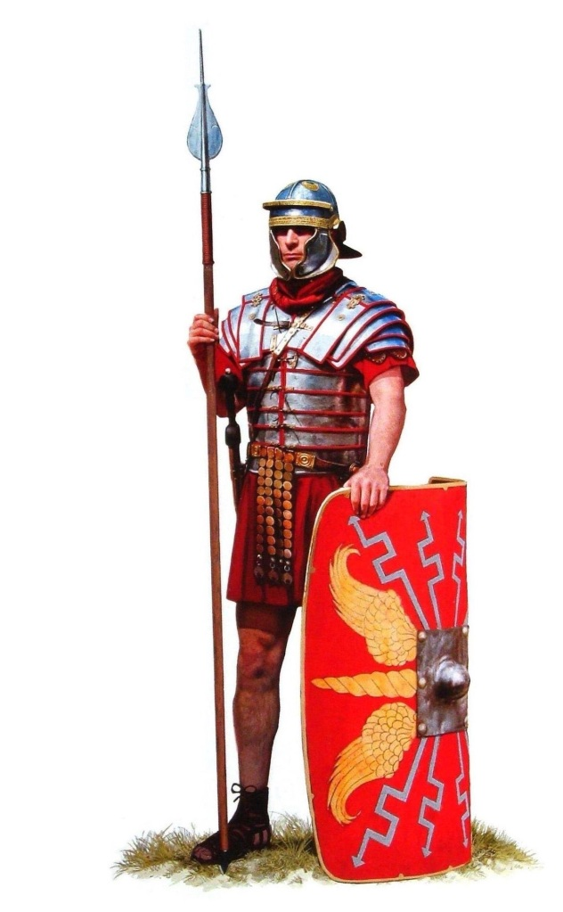 上图:主后第二世纪早期的罗马士兵形象,右手持剑或矛,是攻击性的武器;左手持盾,是防御性的武器。