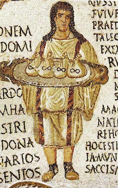 上图:主后3世纪马赛克画上的罗马管家,他捧着几个钱袋子,每个袋子里是1000得拿利乌(Denarius)银币。