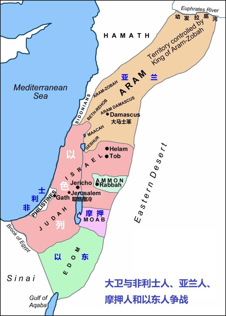 上图:大卫与非利士人、亚兰人、摩押人和以东人的争战图。