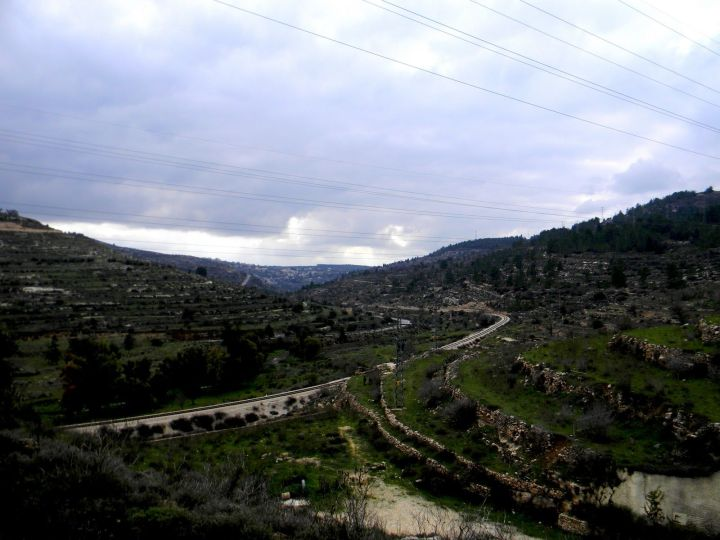 上图:现代利乏音谷。19世纪末,特拉维夫-耶路撒冷铁路沿着穿过梭烈谷和利乏音谷的古代驴子小道(donkeys' trail)到达耶路撒冷。