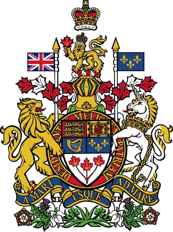 上图:加拿大国徽。蓝色的环带上写着加拿大的国家格言:「从大海到大海(拉丁语:A Mari Usque Ad Mare;英语:From Sea to Sea;法语:D'un océan à l'autre)」。这句格言出自诗七十二8的拉丁文,1921年被加到加拿大国徽之上。