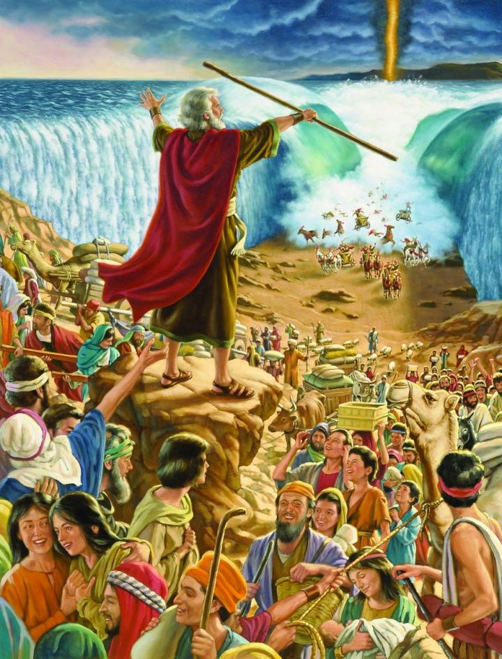 上图:艺术家所描绘过红海的场面:「耶和华对摩西说:你向海伸杖,叫水仍合在埃及人并他们的车辆、马兵身上。摩西就向海伸杖,到了天一亮,海水仍旧复原。埃及人避水逃跑的时候,耶和华把他们推翻在海中,水就回流,淹没了车辆和马兵。那些跟着以色列人下海法老的全军,连一个也没有剩下。以色列人却在海中走干地;水在他们的左右作了墙垣」(出十四26-29)。