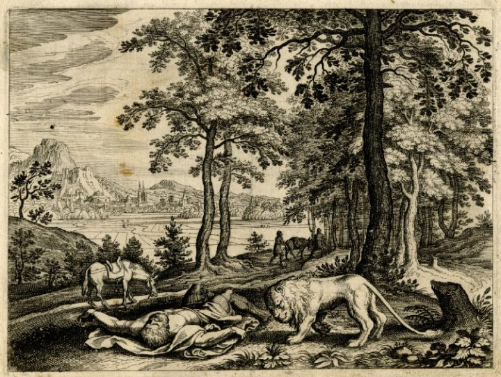 上图:17世纪法兰克福出版的圣经绘画:狮子咬死了不顺服的神人。